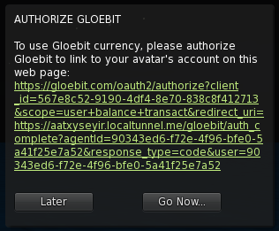 Gloebit auth request in OpenSim viewer