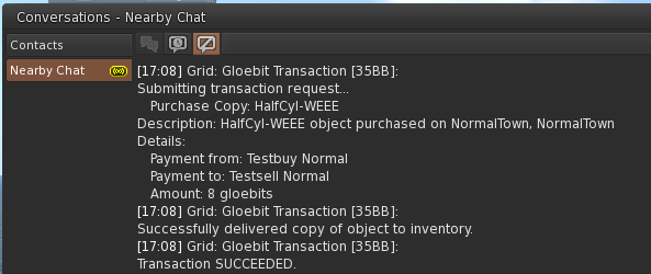Buy progress messages delivered by the Gloebit Money Module to the OpenSim client and stored in chat history