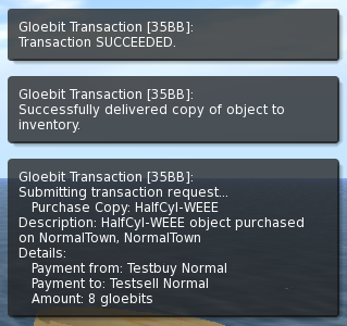 Buy progress messages delivered by the Gloebit Money Module to the OpenSim client