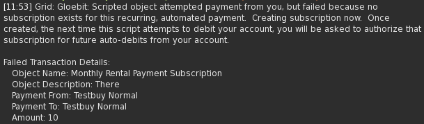 Transaciton failed, subscription created message in chat